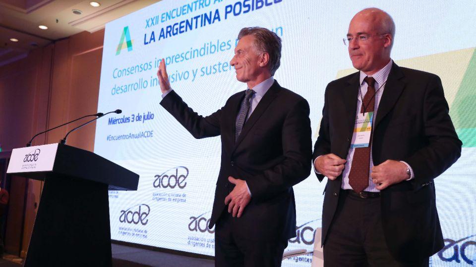 El presidente Mauricio Macri en el encuentro anual de la Asociación Cristiana de Dirigentes de Empresas.