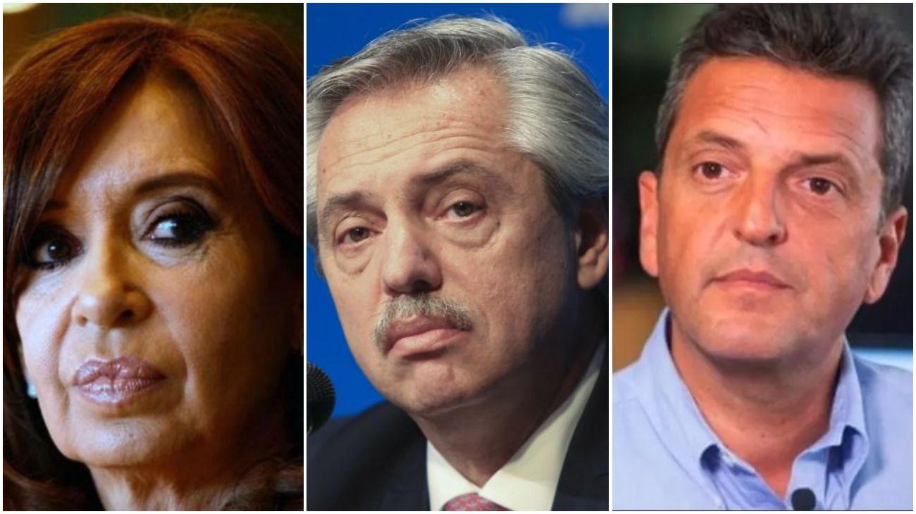 Cristina Fernández de Kirchner, Alberto Fernández y Sergio Massa.