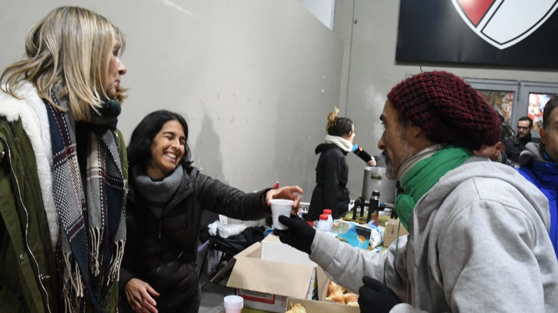 103 homeless people ate breakfast Thursday in River Plate's Monumental Stadium in Buenos Aires.