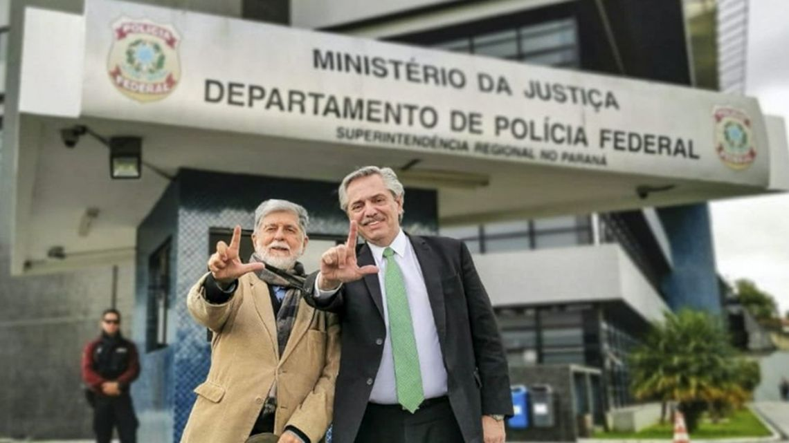 Presidential hopeful Alberto Fernández, pictured outside jail before his visit to see ex-Brazil president Luiz Inácio Lula da Silva.