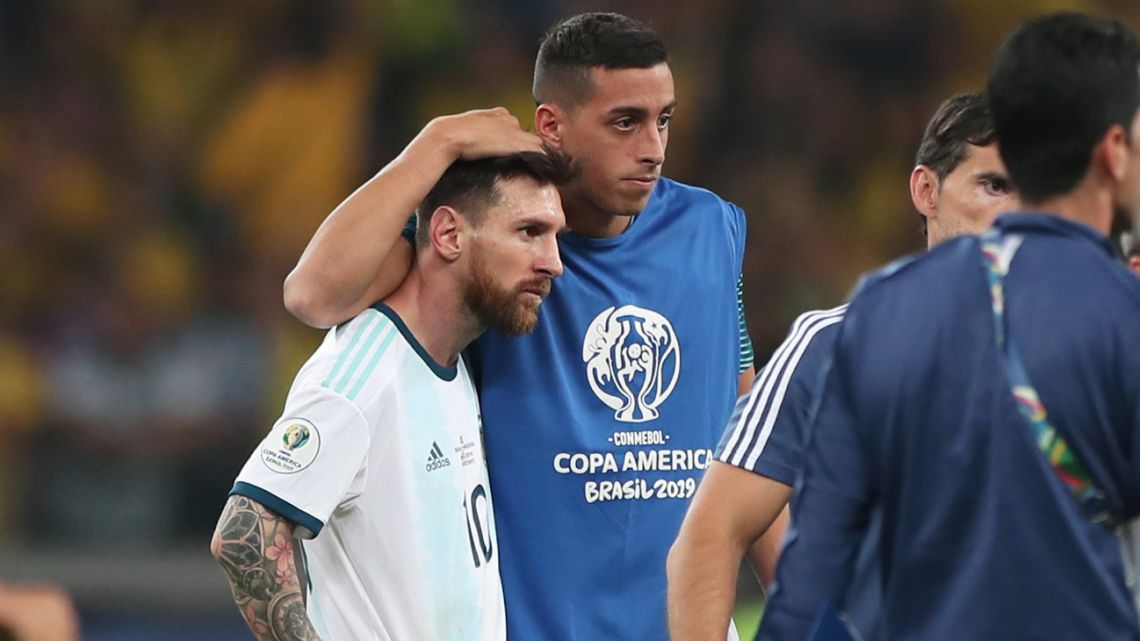 Argentina react after losing 0-2 to Brazil in Belo Horizonte on Tuesday.