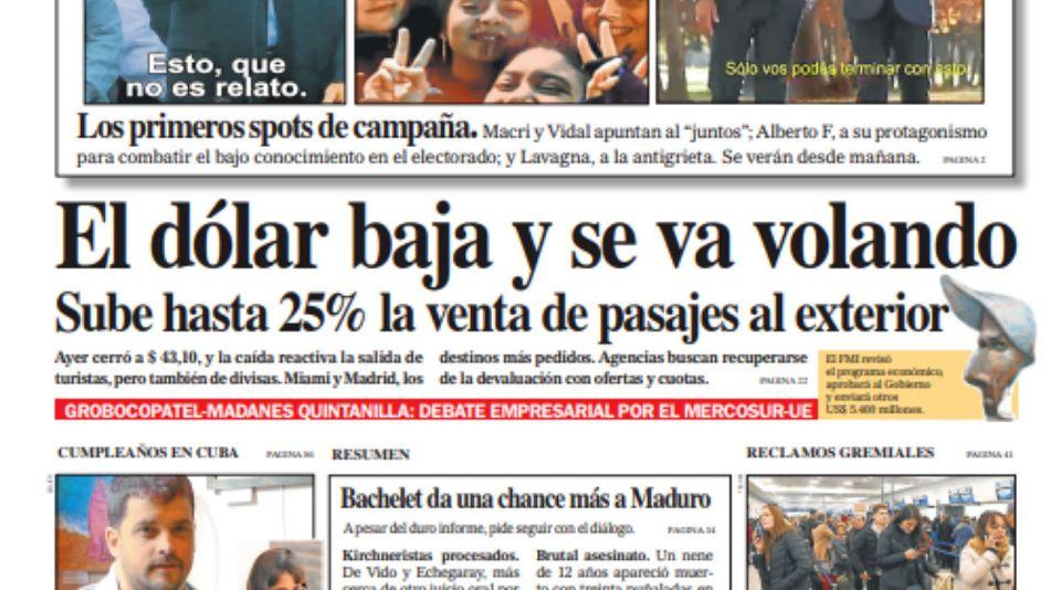 La tapa del Diario PERFIL del sábado 6 de julio de 2019.
