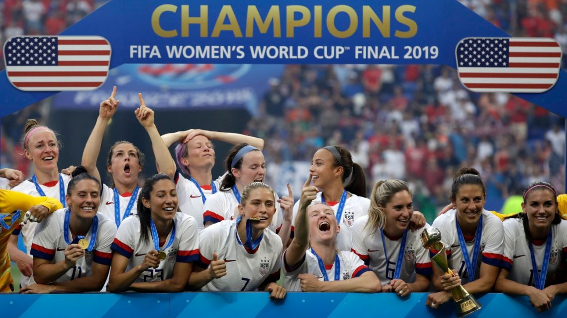 United States' player celebrate after the Women's World Cup final soccer match between US and The Netherlands Decines, France, Sunday, July 7, 2019.