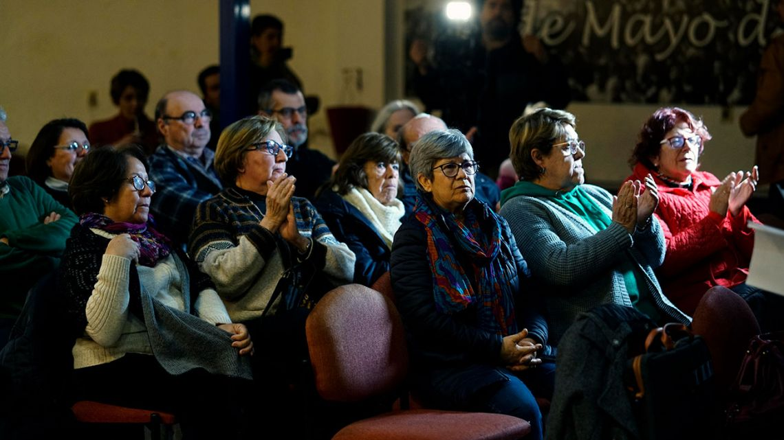 "A group of ""Mothers and relatives of disappeared detainees,"" ""Observatorio Luz Ibarburu"" and of other Uruguayan human rights organizations participate in a video conference with members in Rome regarding the ""Operation Cóndor"" trial, in Montevideo, Uruguay, Monday, July 8, 2019."