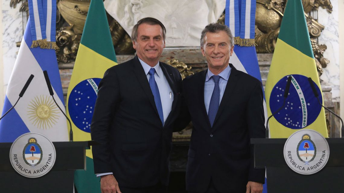 President Mauricio Macri and Brazil's President Jair Bolsonaro