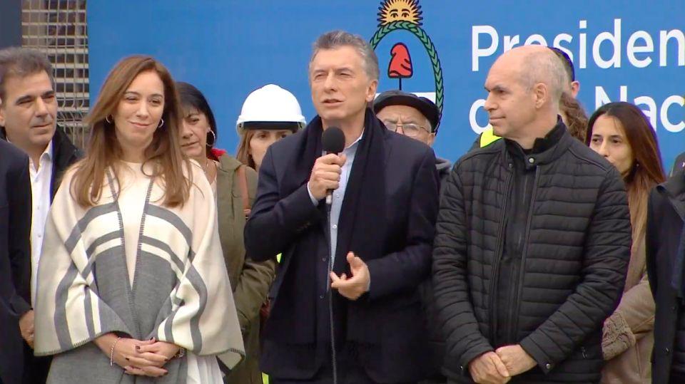 Macri, Vidal y Larreta en la inauguración del viaducto San Martín.