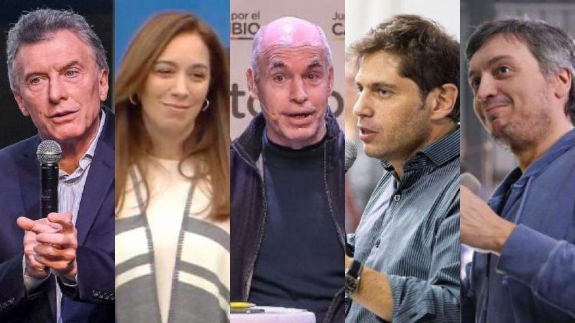 L to R: Mauricio Macri, Maria Eugenia Vidal, Horacio Rodríguez Larreta, Axel Kicillof and Máximo Kirchner.