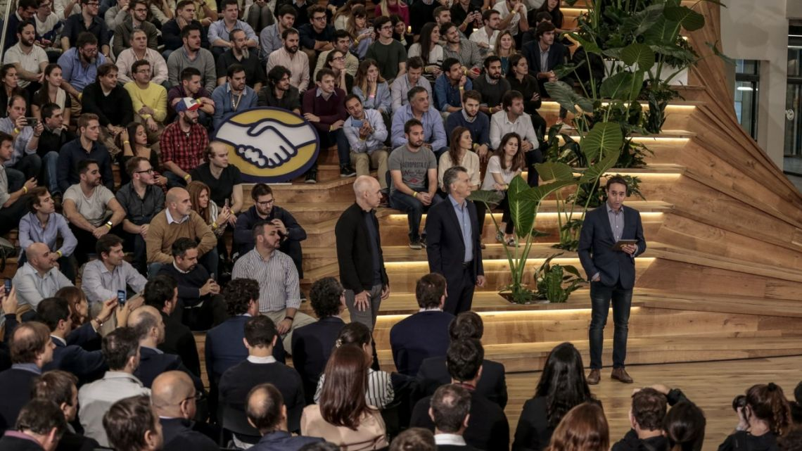 Mauricio Macri listens during the inauguration of the MercadoLibre Development Center in Buenos Aires, Argentina, on Monday, June 10, 2019.