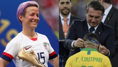 Megan Rapinoe, goleadora y campeona del mundo con la selección de Estados Unidos y Jair Bolsonaro, presidente de Brasil en la premiación de la Copa América. El fútbol y la política, otra vez se mezclaron.