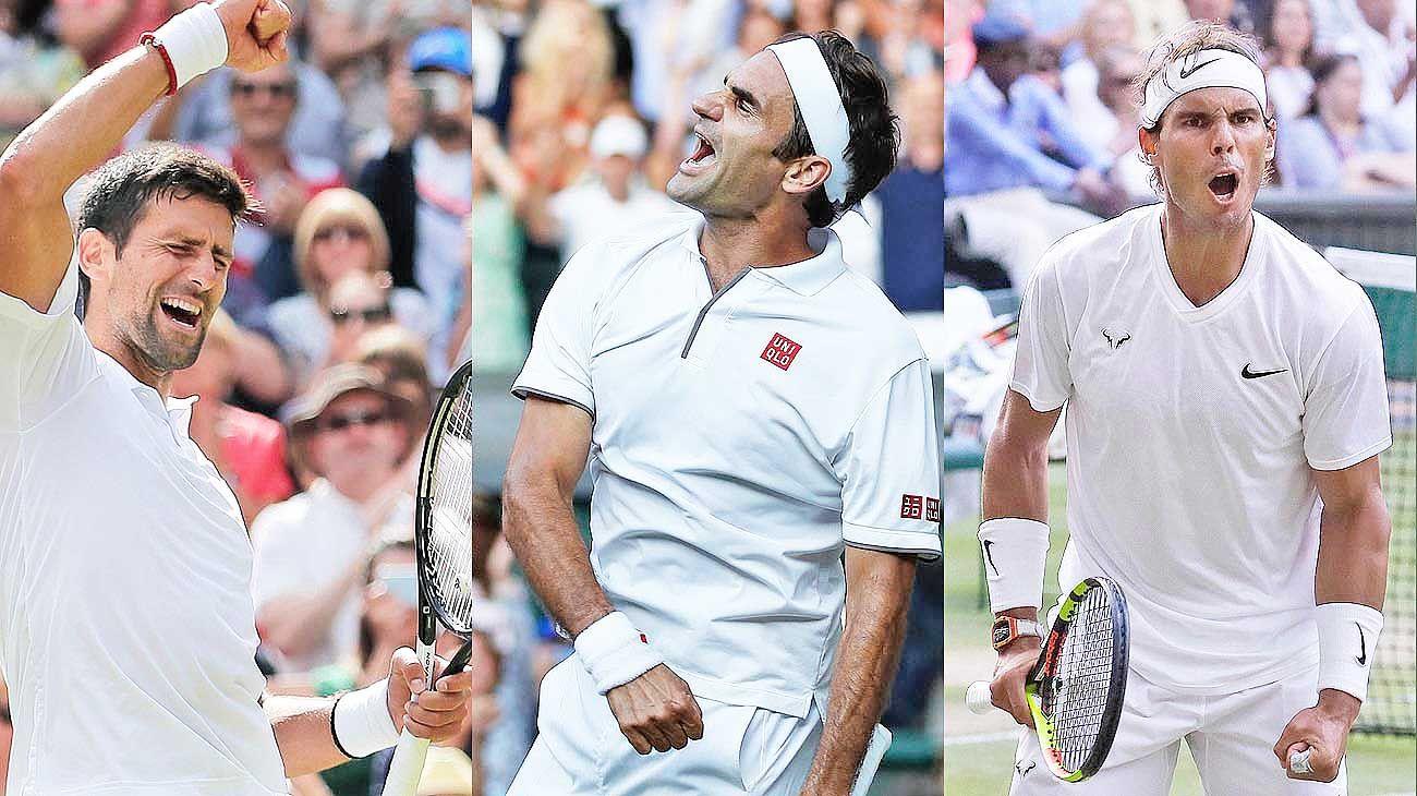 """Djokovic. El serbio acumula 259 semanas como número uno del mundo. / Federer. """"Nos convertimos en mejores por los otros"""", confesó. / Nadal. Ganó su primer Grand Slam a los 19 años. Y no paró."""