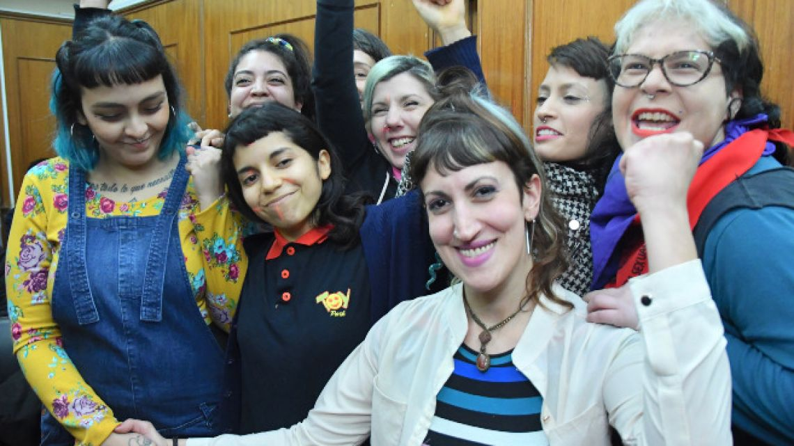 Victims and feminist activists celebrate sentencing of rock star Cristian Aldana