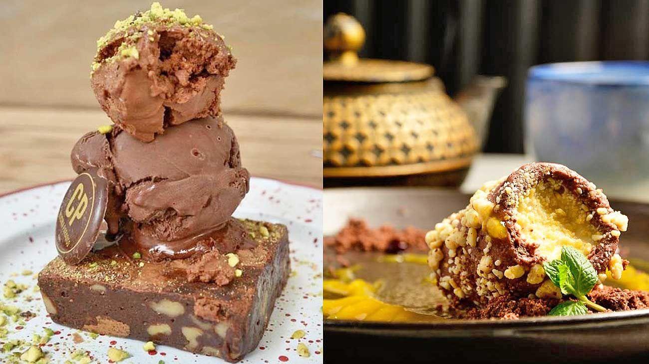 """Espumone. Con pistachos y sal, más helado y brownie (izq.).y Chocoroll. Sobre """"tierra"""" de cacao y sal marina. (der.)"""