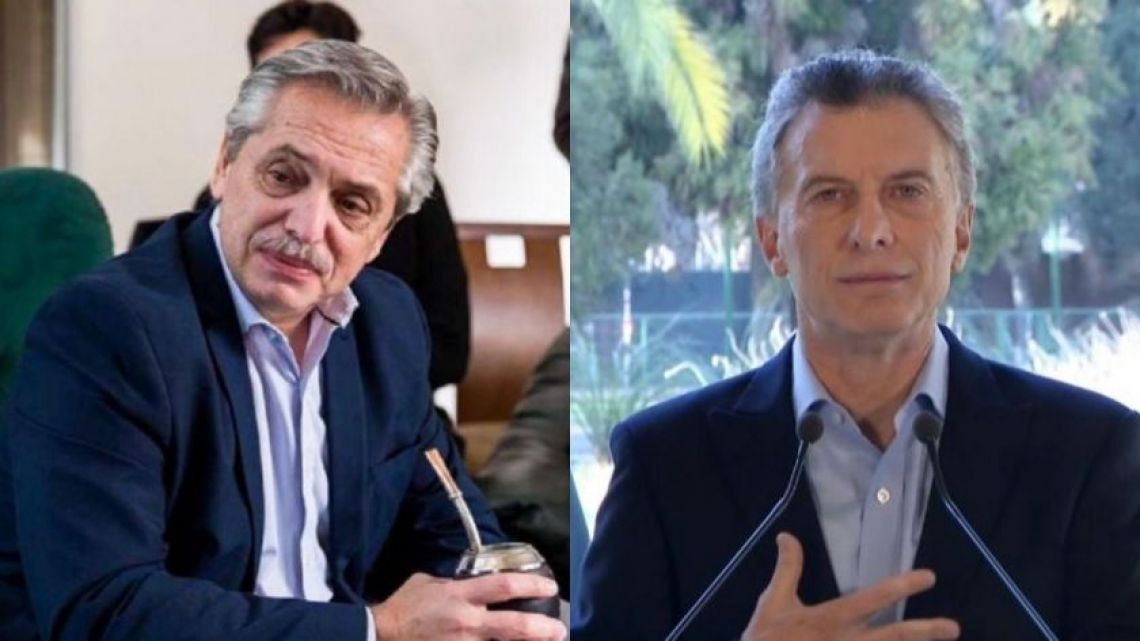 Alberto Fernández (left) and President Mauricio Macri (right).