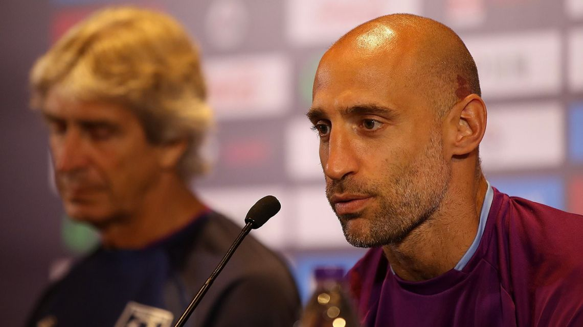 West Ham United and Argentina defender Pablo Zabaleta gives a press conference in Nanjing.
