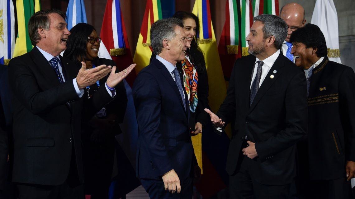 Brazil's President Jair Bolsonaro, Mauricio Macri, Paraguay's President Mario Abdo Benitez and Bolivia's President Evo Morales at the Mercosur Summit in Santa Fe, Argentina.