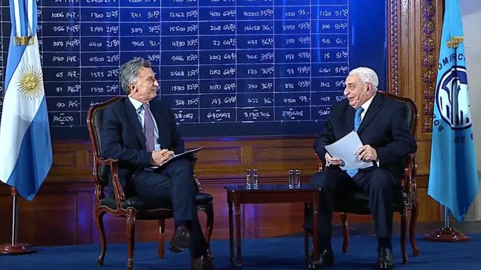 El presidente Mauricio Macri en el 165 aniversario de la creación de la Bolsa de Comercio.