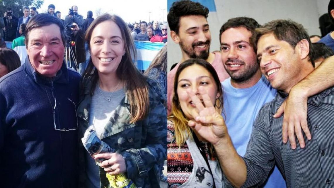 María Eugenia Vidal and Axel Kicillof on the campaign trail in 2019.
