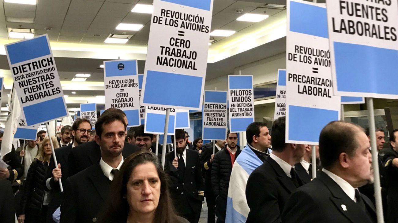 Protesta de pilotos de Aerolíneas Argentinas el jueves 25 de julio de 2019.