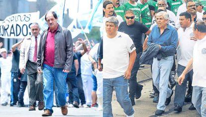 Doble o nada. Julio Chávez en una escena que emula una manifestación del sindicato de la carne. Hugo Moyano durante una protesta con los afiliados a Camioneros.