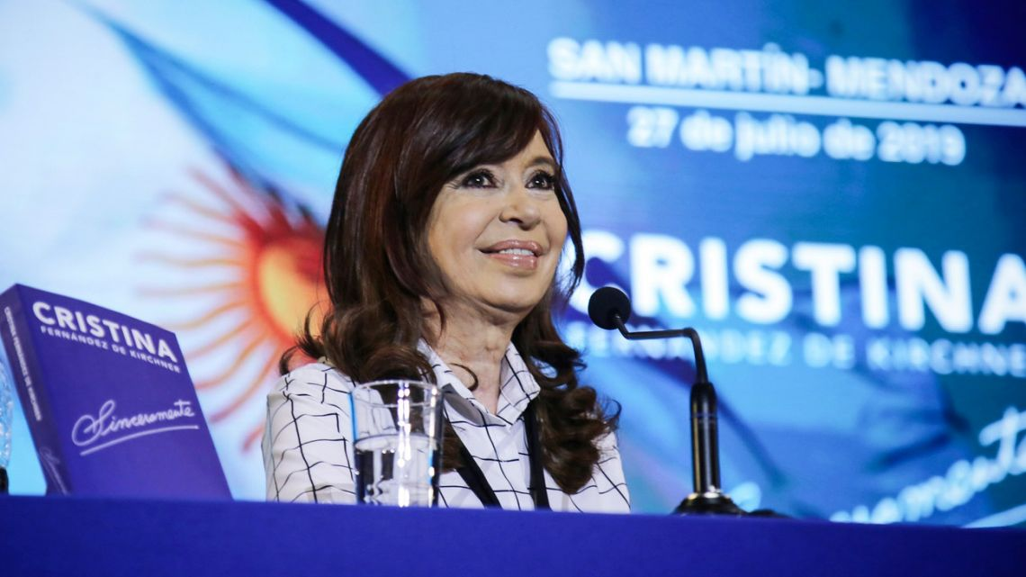 Former president Cristina Fernández de Kirchner, pictured at a presentation of her latest book in Mendoza province.