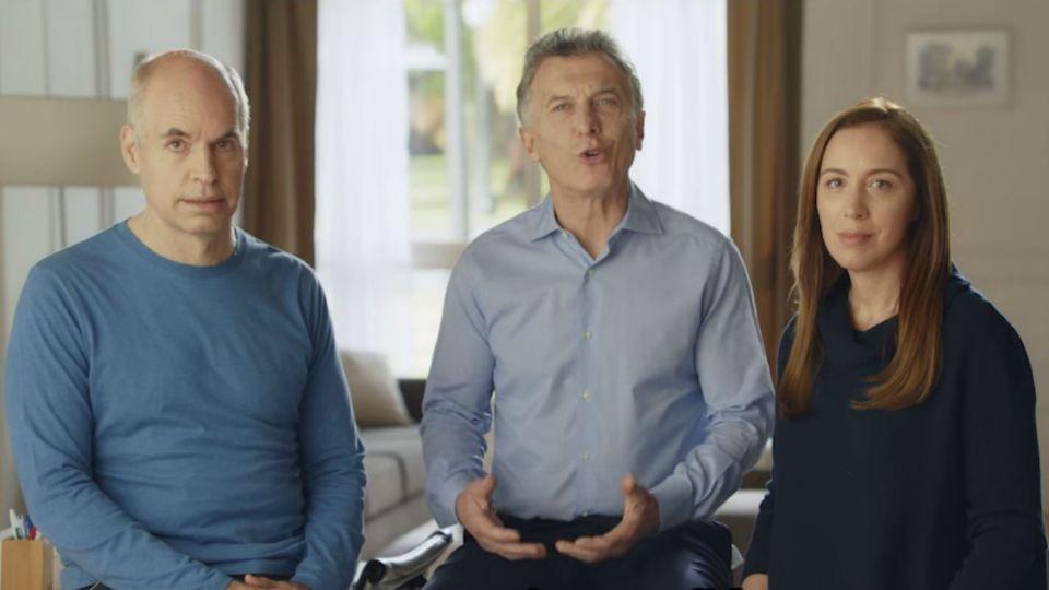 Mauricio Macri junto a Horacio Rodríguez Larreta y María Eugenia Vidal.