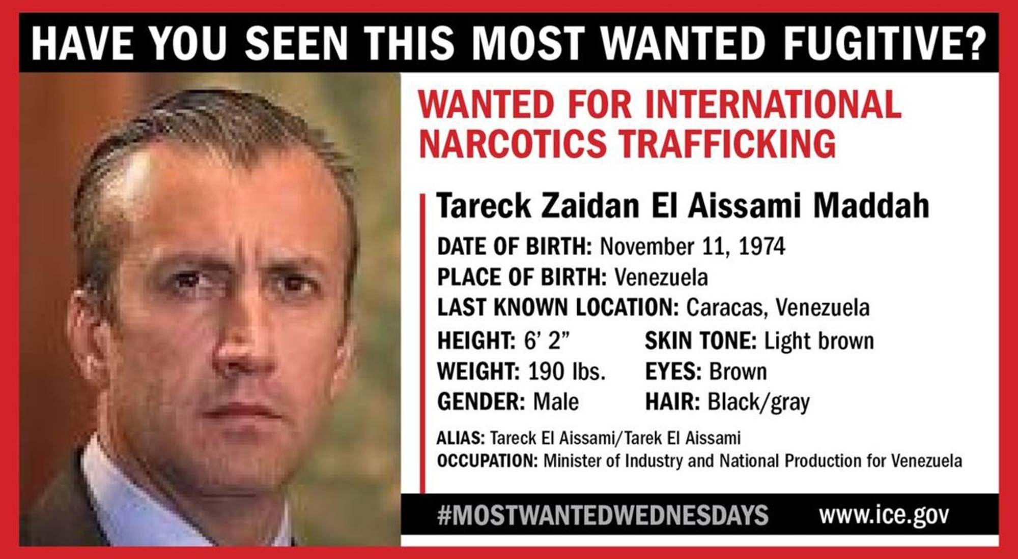 """EE.UU. pone al ex vice de Maduro, actual ministro, en su lista de """"fugitivos más buscados"""""""