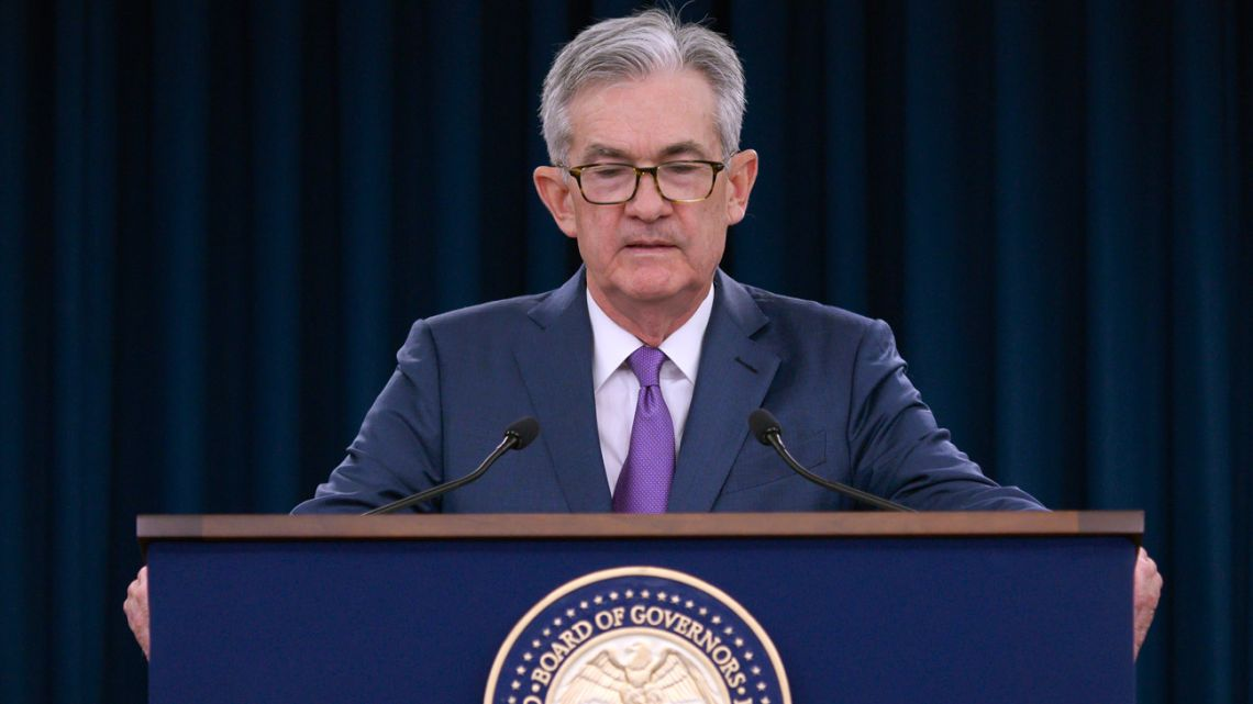 US Federal Reserve Chairman Jerome Powell speaks during a press conference after a Federal Open Market Committee meeting in Washington, DC on July 31, 2019.