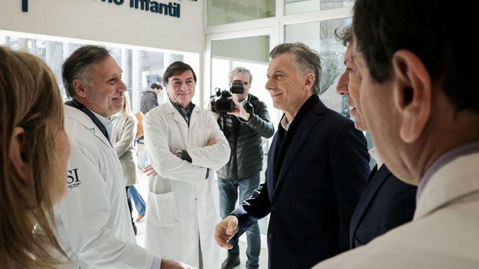 Macri visitó el el Hospital Materno Infantil de San Isidro.