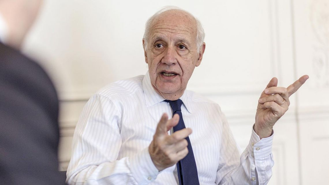 Roberto Lavagna, presidential candidate for Consenso Federal, speaks during an interview in Buenos Aires, Argentina, on Tuesday, July 30, 2019.
