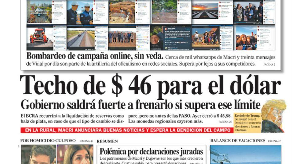 La tapa de la edición del Diario PERFIL del sábado 3 de agosto de 2019.