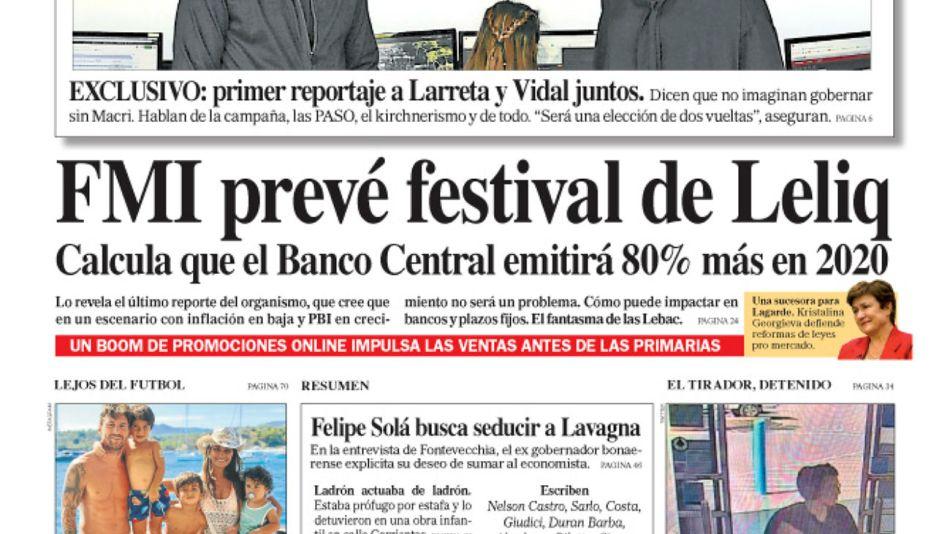 La tapa del Diario PERFIL de este domingo 4 de agosto de 2019.