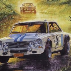 Una pintura evocativa del artista Jorge García que ilustra a un Torino en Nürburgring