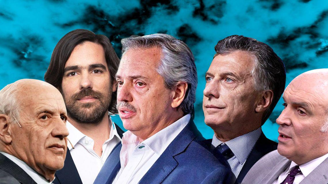 From left, PASO presidential candidates Roberto Lavagna, Nicolás del Caño, Alberto Fernández, Mauricio Macri and Luis Espert.