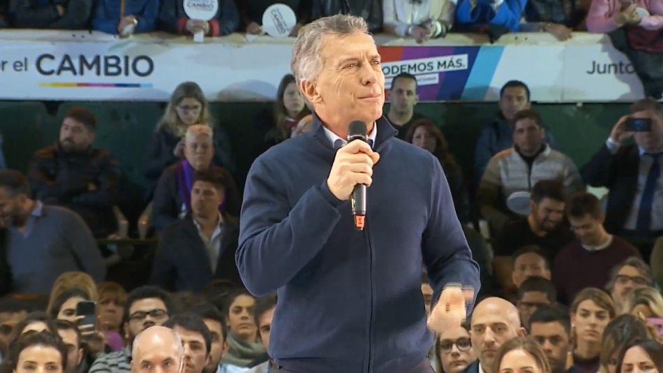 Mauricio Macri, durante el cierre de campaña de Juntos por el Cambio en la Capital.