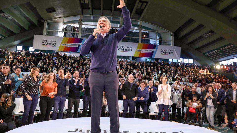 Mauricio Macri en el cierre de su campaña de cara a las PASO.
