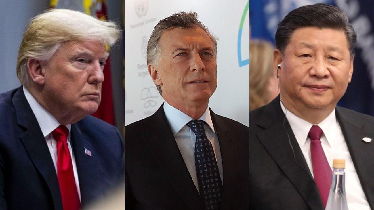 Donald Trump, Mauricio Macri y Xi Jinping.
