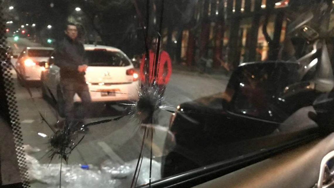 A smashed window of the car Jose Luis Espert was travelling in at the time of the attack.