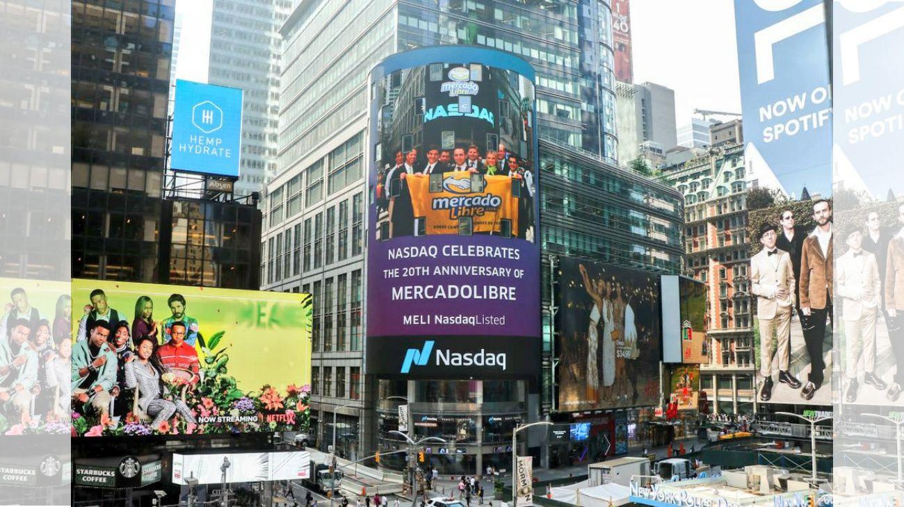Récord: las acciones de MercadoLibre suben más de 12% en Wall Street en su 20 aniversario