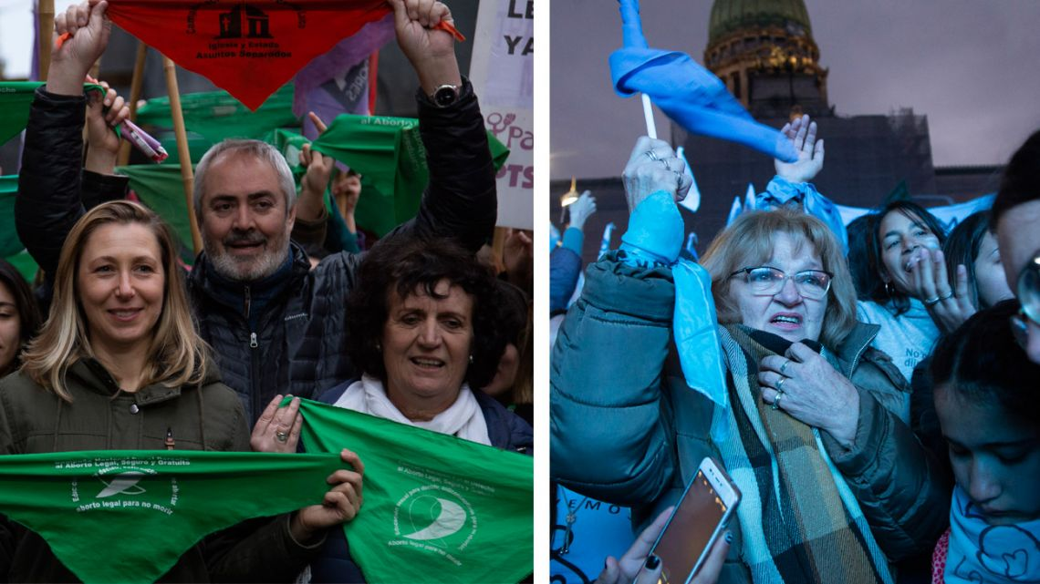 Protesters demonstrate in favour and against abortion reform in Buenos Aires.