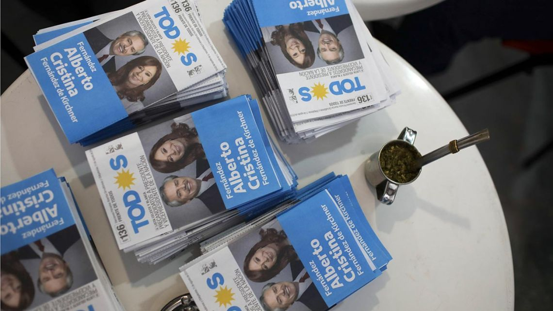 Voting ballots showing presidential candidate Alberto Fernández, and running-mate Cristina Fernández de Kirchner sit on a table in Buenos Aires.
