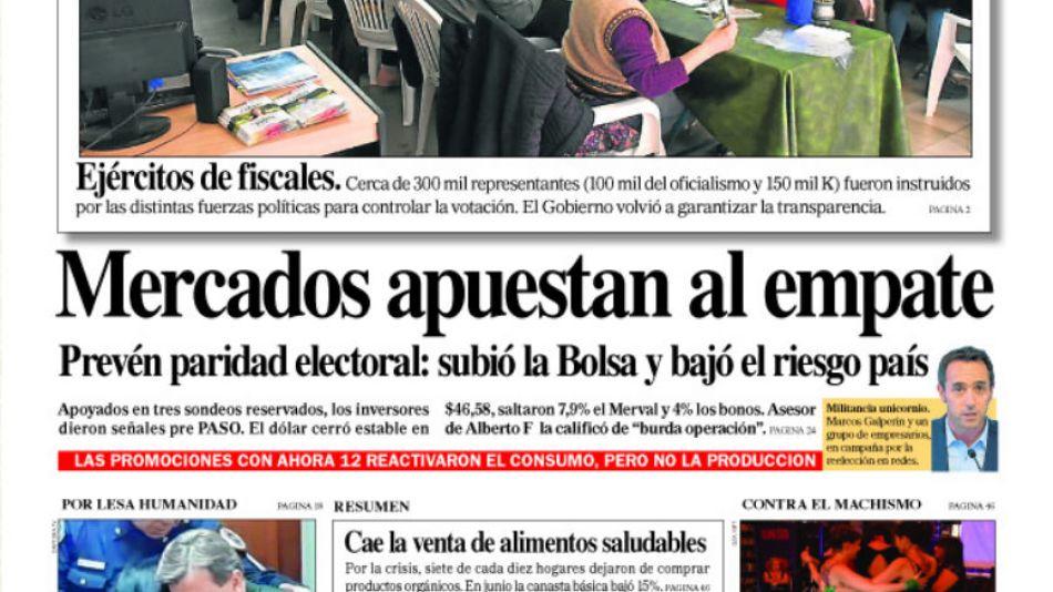 La portada de este sábado 10 de agosto del Diario Perfil.