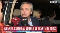 Alberto Fernández de camino al búnker del Frente de Todos.