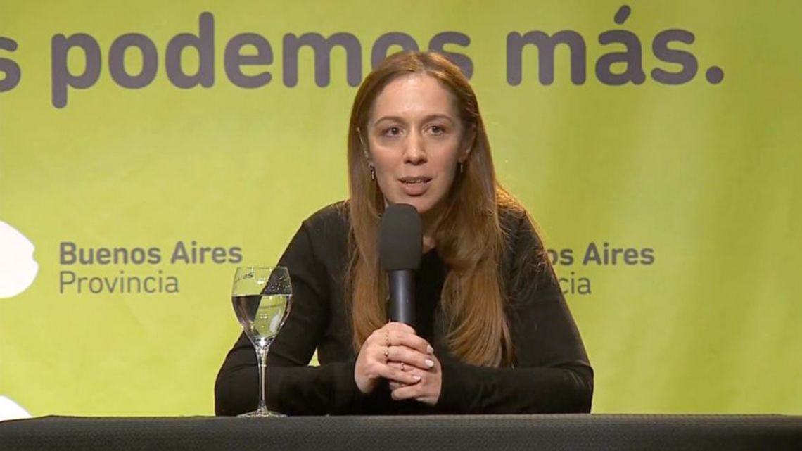 Buenos Aires Gov. María Eugenia Vidal speaks to the press a day after her PASO defeat by former economic minister Axel Kicillof.