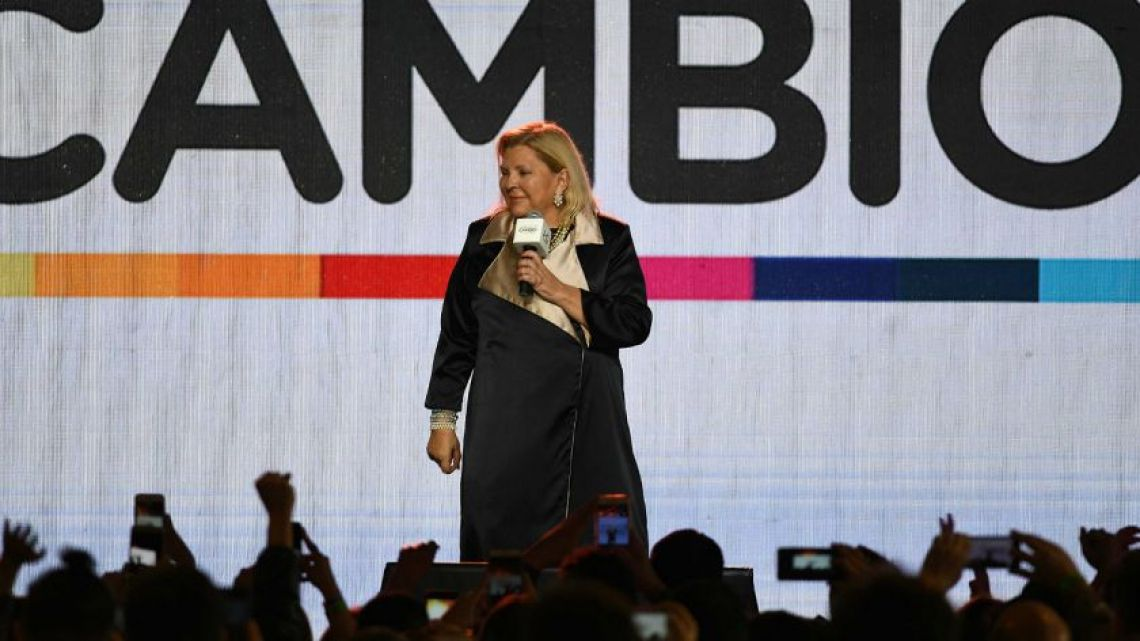 Elisa Carrió made an emotional speech at the Juntos por el Cambio bunker Sunday.