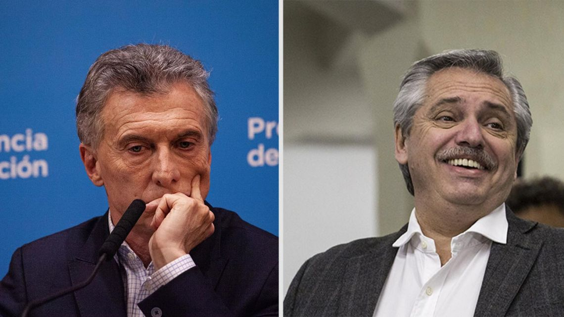 Presidential candidates Mauricio Macri (left) and Alberto Fernández (right).