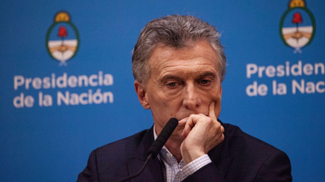 Macri at a press conference Monday.