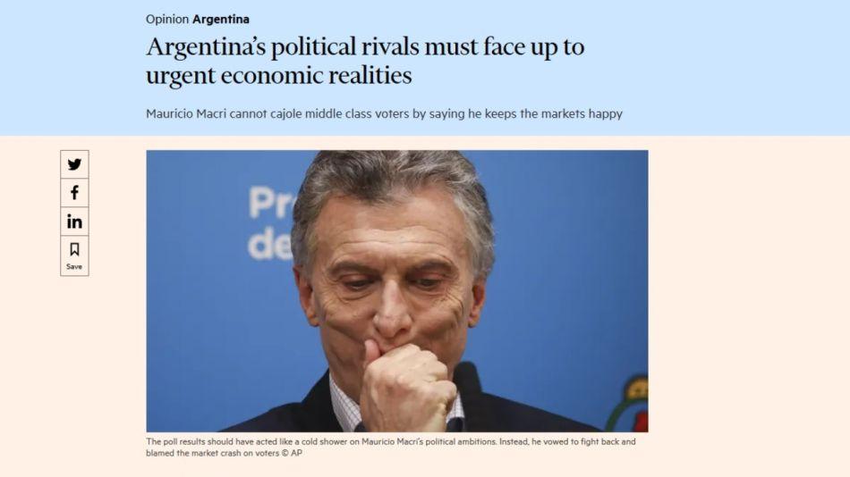 El duro artículo del diario británico Financial Times contra Mauricio Macri.