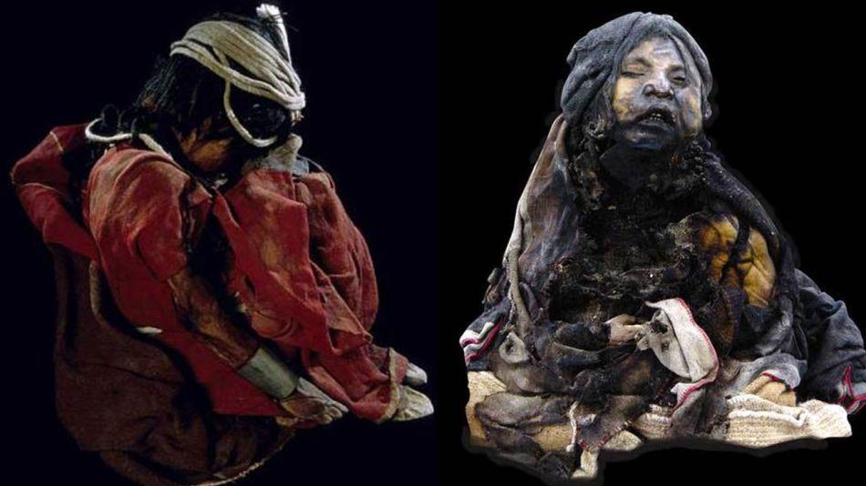 Los niños del Llullaillaco. El niño y La niña del Rayo. Dos de los tres cuerpos hallados en la cima del volcán.