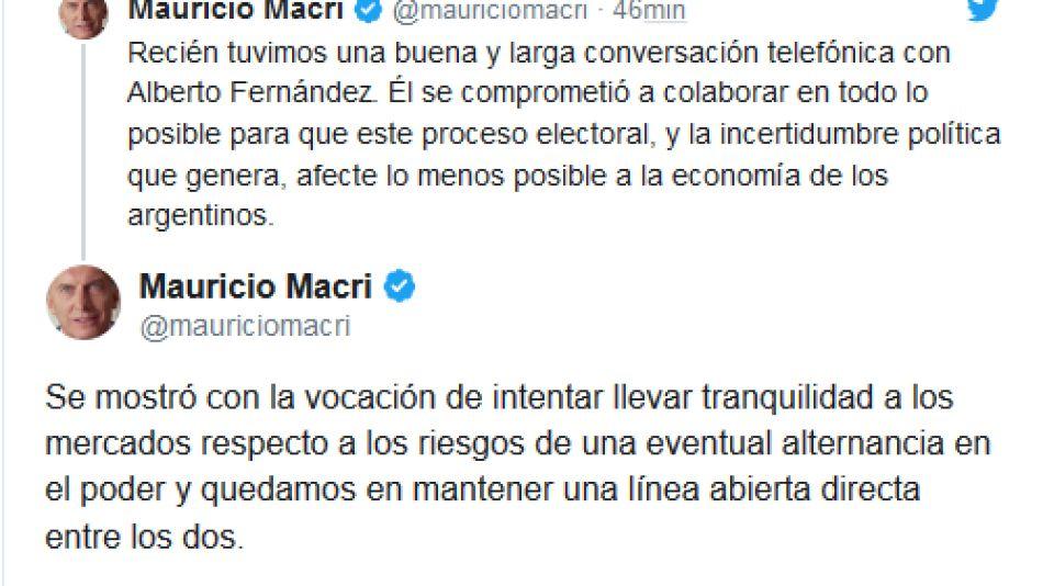 Mauricio Macri confirmó en Twitter su charla con Alberto Fernández. 20190814
