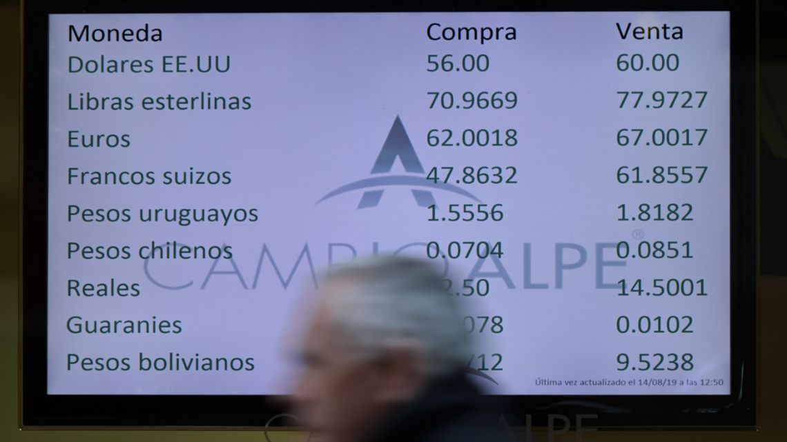Currency exchange values are displayed on the buy-sell board of a bureau de exchange in Buenos Aires.